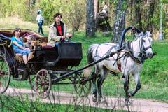 2009 05 10, Zelenograd, Russia La gente nel carretto con il cavallo grigio nel parco fotografia stock