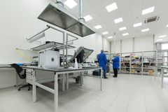 Factory for the manufacture of electronic printed circuit boards. Zelenograd, Russia - October 19, 2017: Factory for the manufacture of electronic printed Royalty Free Stock Photos