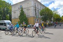 Zelenogradsk,俄罗斯 一传统自行车比赛加里宁格勒- Zelenogradsk ` A游览de Kranz `的骑自行车者 免版税库存照片