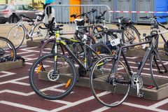 ZELENOGRADSK, KALININGRAD REGION, RUSSIA - SEPTEMBER 08, 2018: Parking with different sport bicycles in the resort town. Parking with different sport bicycles royalty free stock image