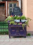 Zelenogradsk, Rosja Reklamowa instalacja Bufet kawiarnia na Kurortny alei Rosyjski tekst ` kawiarnia Bufeta ` zdjęcia royalty free