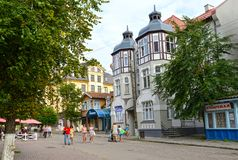 ZELENOGRADSK, RUSSIA. Historical building on Kurortny Avenue Stock Images