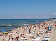ZELENOGRADSK, RUSSIA. The populous beach on the bank of the Baltic Sea. ZELENOGRADSK, RUSSIA - AUGUST 23, 2009: The populous beach on the bank of the Baltic Sea Royalty Free Stock Images