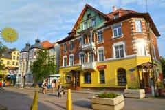 Zelenogradsk, Russia Il vecchio edificio residenziale della costruzione dell'inizio del secolo XX sul viale di Kurortny Fotografia Stock Libera da Diritti