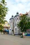 ZELENOGRADSK, RUSSIA. The old building with two bay windows on Kurortny Avenue Royalty Free Stock Image