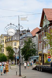 ZELENOGRADSK, RUSSIA. A view at street o`clock and Kurortny Avenue Royalty Free Stock Photo