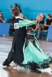 Zelenskiy Иван и Lantuhova Анна выполняют программу стандарта Youth-2 Стоковое фото RF
