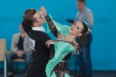 Zelenskiy Иван и Lantuhova Анна выполняют программу стандарта Youth-2 Стоковые Изображения
