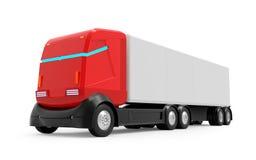 Zelf-drijft vrachtwagen futuristisch rood vector illustratie