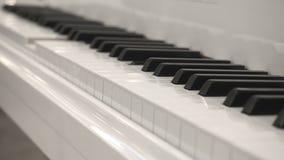 Zelf-speelt Witte Piano zonder Pianist Playing Piano Itself Sluit omhoog Zijhoekweergeven stock footage