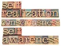 Zelf-totstandbrenging, bewustzijns en zelfbewustzijnwoorden i Stock Foto's