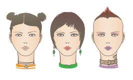 Zelfde gezichts verschillende stijl royalty-vrije illustratie