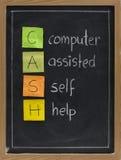 Zelfhulp met computer (CONTANT GELD) Stock Foto