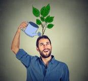 Zelfinvestering mens met vele ideeën Stock Afbeelding