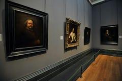 Zelfportret en andere portretten door Rembrandt bij de Nationale portretgalerij, Londen stock afbeelding