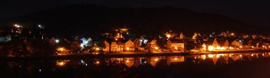 Zell Mosel på natten Royaltyfri Fotografi