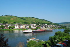 Zell Mosel & vineyards. Commercial barge on Mosel river at Zell Royalty Free Stock Photo