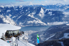 Zell am See. AUSTRIA - CIRCA JANUARY 2013: People relaxing on a ski day at Schmittenhohe. , Austria, Circa January 2013 Royalty Free Stock Images