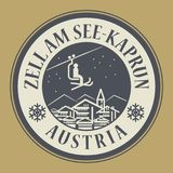 Zell am See-Kaprun in Austria, ski resort. Abstract stamp or emblem with the name of town Zell am See-Kaprun in Austria, ski resort, vector illustration Royalty Free Stock Photo