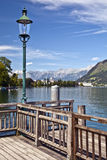 Zell am see lake austria. Wooden jetty zell am see lake austria stock photography