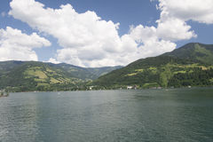 Zell Am See Lake. On a boat ride in Zell Am See Lake stock photography