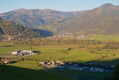 Zell am See in Salzburg, Austria from Above stock photography