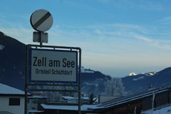 Zell Am See. Sign Winter time Stock Photos