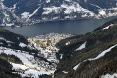 Zell Am See Ski resort Austria. A general view of the Zell am See Ski resort in Austria. It is seen here from the Schmittenhohe mountain Stock Image