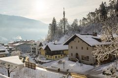 Zell Am See Town Centre in Winter Stock Images