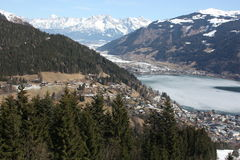 Zell am See town and skiing resort and lake Zell, Alps. Stock Image
