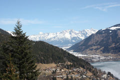 Zell am See town and skiing resort and lake Zell, Alps. Royalty Free Stock Images