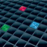 Zellen mit Farbentropfen Stockfoto