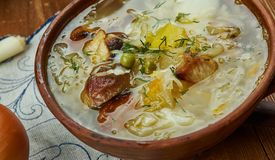 Czech Zelnacka. Zelnacka, Bohemian cabbage soup, Czech cuisine, Traditional assorted dishes, Top view stock photography