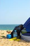 Zelt auf dem Strand Stockfoto