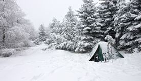 Zelt begraben im Schnee in der nebelhaften Winter-Landschaft Stockfotografie