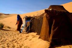 Zelt in der Sahara-Wüste Stockfotos