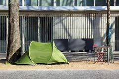 Zelt eines Obdachlosen Stockbilder
