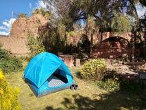 Zelt im Hof, Maras, Peru stockfoto