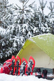 Zelt im Winterwald Lizenzfreies Stockfoto