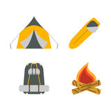 Zelt, Lagerfeuer, Rucksack, flache Ikonen des Schlafsacks Tourismus rüsten sich aus Stockfoto