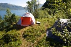 Zelt in Lofoten Stockfotos