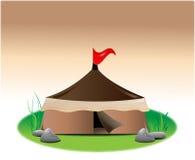 Zelt mit roter Fahne Stockfoto