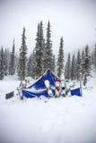 Zelt nach Schneefälle Lizenzfreie Stockfotografie
