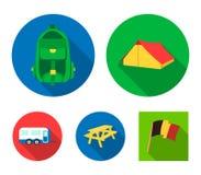 Zelt, Rucksack, Tabelle mit einer Bank, Anhänger Kampierende gesetzte Sammlungsikonen in der flachen Art vector Illustration des  Stockfoto