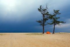 Zelt und Sturm Lizenzfreies Stockfoto