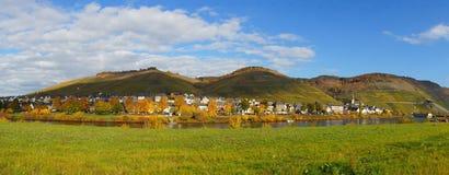 Zeltingen sul panorama di Mosella Fotografia Stock Libera da Diritti
