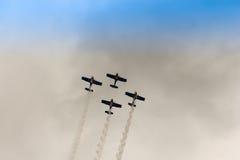 ZELTWEG, AUSTRIA - JULY 02, 2011: Flying Bulls Aerobatics Team,. Airshow flying Zlín 50 LX, Airpower, Österreich, Zeltweg Stock Image