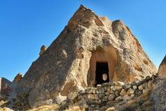 Zelve谷的岩石房子在卡帕多细亚 火鸡 免版税库存照片