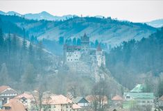 Zemelenkasteel, Transsylvanië, Roemenië - panorama royalty-vrije stock fotografie