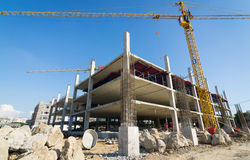 Zementstütze im Konstruktstandort Stockbild